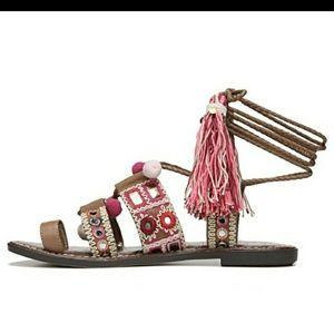 Sam Edelman pink pompom tie up sandals